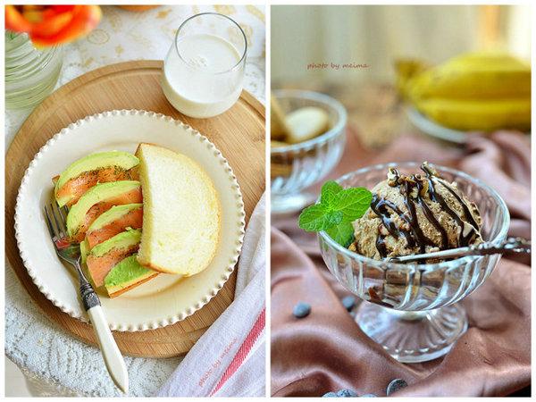 淡奶油吐司的做法、香蕉巧克力冰淇淋的做法