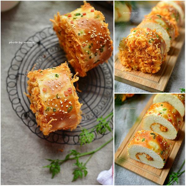 香葱肉松面包卷的做法[爱美的家]