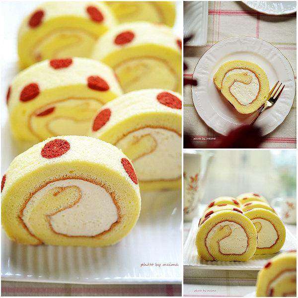 红曲波点蛋糕卷的做法[爱美的家]
