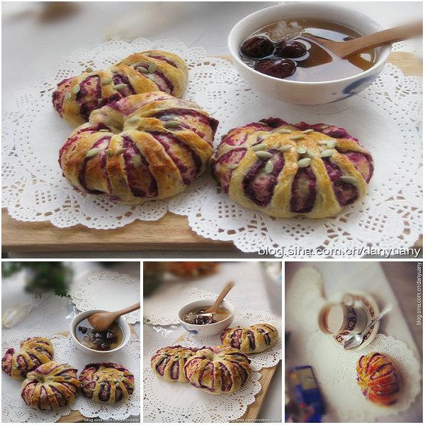 花式紫薯面包卷的做法